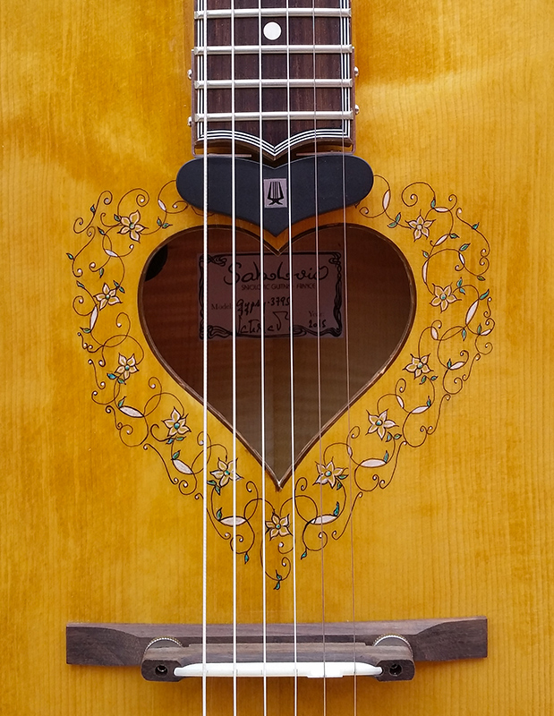 rare and unique Sabolovic Gypsy Heart acoustic archtop guitar with calligraphy