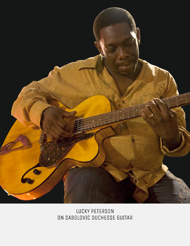 Lucky Peterson playing on Sabolovic archtop guitar Duchesse model